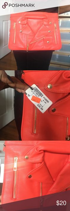 Moschino Lookalike Faux Leather Jacket Crossbody This Faux Leather lookalike crossbody needs to be in your closet! Similar to the Moschino mini leather jacket crossbody. Never been worn. Chain can be detached for use as clutch. Bags Crossbody Bags