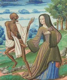 Français 995 Date d'édition : 1401-1500 Medieval Manuscript, Medieval Art, Renaissance Art, Illuminated Manuscript, Art Macabre, Danse Macabre, Art Mort, Middle Age Fashion, Death Art