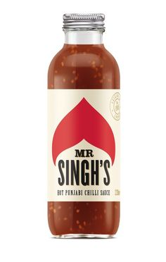 a fun hot sauce label design | Mr Singh's hot sauce - pearl fisher #design #packaging #bottle PD