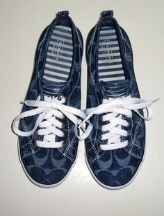 '13 COACH Suzzy Denim Navy Blue Signature C Sneakers 7.5B EUC' is going up for auction on Tophatter.