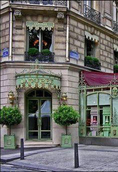 Laduree on Champs Elysees for their famous macarons and sweets~ Get a hot…