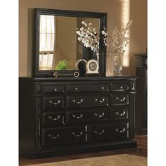 Progressive Torreon Antique Black Pine Wood and Veneer 6-drawer Dresser and Mirror