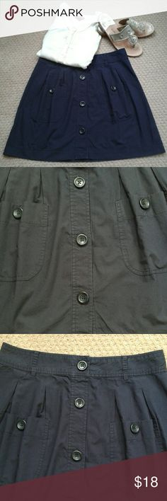 """Canvas by Lands' End  Skirt Navy button up skirt with 2 cute pockets in the front. 100% cotton. 18"""" long and 31"""" waist. Waistband has belt loops. Lands' End Skirts"""