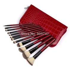 Professional 12 pcs Makeup Brush Set tools Make up Toiletry Kit Wool Brand Make Up Brush Set RED Crocodile Case free shipping