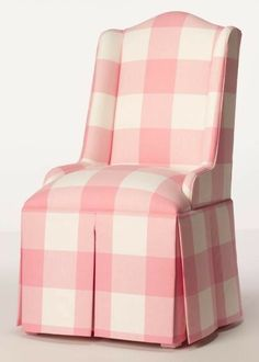 Pink Gingham Parsons Wing Chair ~ so cute! Love the generously stuffed seat, wide box pleated skirt and daintly little arms. Pretty In Pink, Perfect Pink, Childrens Room, I Believe In Pink, Pink Gingham, Pink White, Big Girl Rooms, Wing Chair, Everything Pink