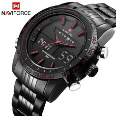 Luxury Brand NAVIFORCE Men Fashion Sport Watches Men's Quartz Digital Analog Clock Man Full Steel Wrist Watch relogio masculino //Price: $30.50 & FREE Shipping //     #hashtag1
