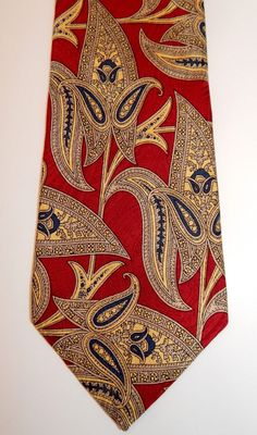 Liberty of London Exquisite Red & Yellow Paisley Flower Print Silk Neck Tie #LibertyofLondon #NeckTie