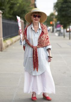 """ADVANCED STYLE: Red, White, and I ran into this woman in Chelsea and asked if I could take her photo. She told me, """" I am on my way to a 90th Birthday party and the Birthday boy will surely get a kick out of this!"""" (FROM THE BLOG """"ADVANCED STYLE"""")"""