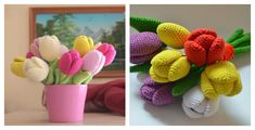 You will be able to transform your home interior with help of this Beautiful Tulip Crochet Pattern and Video Tutorial. This pattern is fairly easy. Small Purple Flowers, Tulips Flowers, Crochet Flower Patterns, Crochet Flowers, Crochet Ideas, Amigurumi Doll, Craft Work, Presents, Crafty