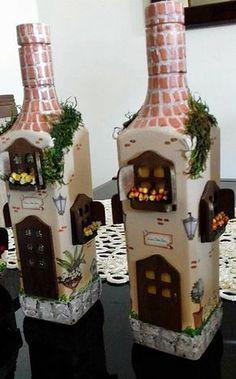 Bottle Painting Plastic Bottle Art Wine Bottle Art Wine Bottle Crafts Jar Crafts Bottles And Jars Liquor Bottles Glass Bottles Bottle House Plastic Bottle Art, Glass Bottle Crafts, Wine Bottle Art, Painted Wine Bottles, Diy Bottle, Liquor Bottles, Glass Bottles, Decorated Bottles, Bottle House