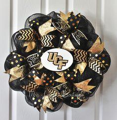 UCF deco mesh wreath - Black and gold door decor - University of Central Florida Wreath - college sport colors wreath - polka dot decoration by MrsLanderBoutique on Etsy