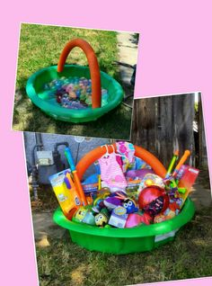 Swimming pool easter basket just fasten the noodle to the pool and easter basket swimming pool noodle for handle filled with waterbaloons eggs and water toys fun fun fun negle Gallery