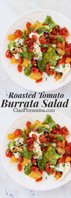 Burrata Roasted Tomato Salad with a Lemon Scallion Dressing Recipe ⭐️⭐️⭐️⭐️⭐️ |CiaoFlorentina.com @CiaoFlorentina