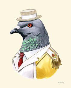 Pigeon art print 8x10. $18.00, via Etsy.
