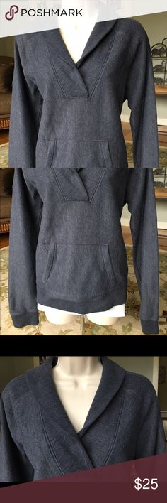J. Crew Sweatshirt gray size Large cross neck EUC This is a nice Sweatshirt style top from J. Crew in Size Large.  Pretty crossover neckline in charcoal gray.  Has a pocket in the front like a hoodie but dressier.  Gently used condition. J. Crew Tops Sweatshirts & Hoodies