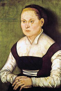 Portrait of a Woman (oil on canvas), Portrait d'une femme; by either Lucas Cranach the Elder (1472-1553) or the Younger (1515-86)