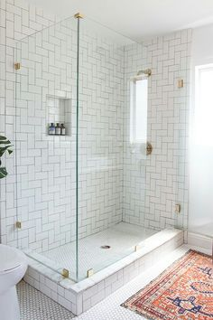 I love the tile, the clear surround and the gold