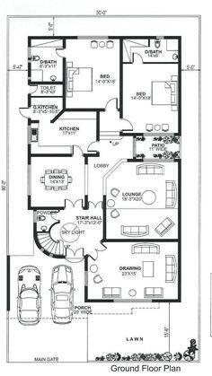 40x60 House Plans, Bungalow Floor Plans, Bungalow House Design, Little House Plans, Free House Plans, Small House Plans, Home Map Design, Home Building Design, 10 Marla House Plan