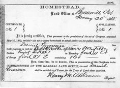 1843-Homestead act 160 acres to a man up to 640 to a couple oregon territory.