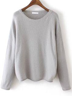 Grey Round Neck Knit Sweater