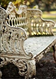 I want this! antique outdoor bench