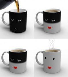 A mug that wakes up when you pour coffee into it. Wakey Wakey Eggs & Bakey