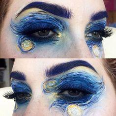 Art Fancy Dress Costume for Parties & Halloween: Van Gogh Artist - Starry Night Painting face paint Eye Makeup Art, Makeup Inspo, Eyeshadow Makeup, Makeup Inspiration, Sfx Makeup, Makeup Tips, Creative Makeup Looks, Make Up Art, Night Makeup