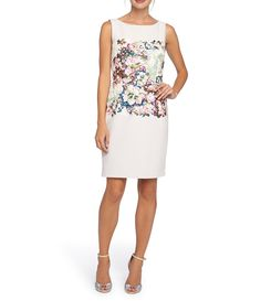 Tahari ASL Printed Lace Applique Sheath Dress