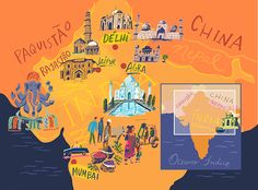 Nik Neves - Map of North India for Selections Travel Agency