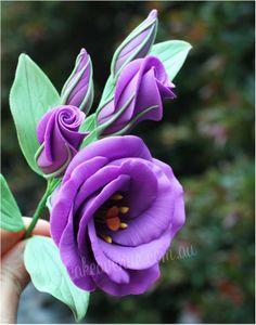 "Purple Lisianthus""Sugar Flowers"" by Cake Avenue Frosting Flowers, Fondant Flower Cake, Fondant Bow, Fondant Tutorial, Fondant Cakes, Lisianthus Flowers, Ranunculus, Sugar Paste Flowers, Making Fondant"
