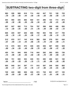 Subtracting two-digit numbers from three-digit numbers. 6 different styles to choose from. Math Multiplication Worksheets, Maths Puzzles, Alphabet Worksheets, Math Games, Math Activities, Math Drills, Math Sheets, Math Courses, Math Tutor