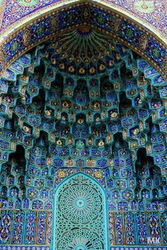 Mosque art. Blue tiles on the facade of the St. Petersburg Mosque, Russia