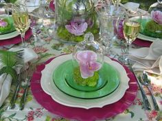 tablescape - lots of green depression glass at www.hendersonmemories.com