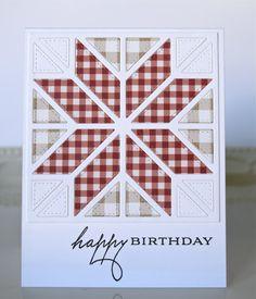 handmade quilt card ... mixed font birthday sentiment ... die cut star pattern quilt block ...