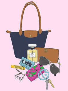 What's inside her navy Longchamp Lepliage
