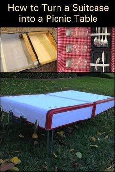 Who doesn't love a good, long afternoon picnic? This excellent DIY suitcase picnic basket will not only hold your wine, cheese, chips, cups, and utensils, it also doubles as a table! This project is easy and will cost you next to nothing, too. Diy Picnic Table, Diy Table, Recycling Ideas, Repurposing, Cheese Chips, Outdoor Crafts, Wine Cheese, Wedding Tables, Camping And Hiking
