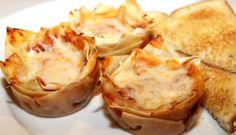 Lasagnekuppikakut Cheese Spaghetti, Muffin Tin Recipes, Muffin Tins, Mini Lasagna, How To Make Lasagna, Wonton Wrappers, Vegetarian Cheese, Picky Eaters, Lasagna