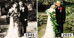 Esposos de 98 años de edad recrearon el día de su boda 70 años después