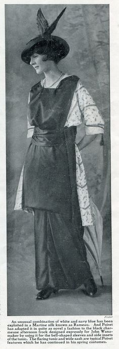 1914 - Paul Poiret spring fashions. Displayed in Harper's Bazar magazine just before WW1 started