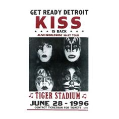 KISS Get Ready Detroit Tiger Stadium Concert Poster - This 1996 KISS Get Ready Detroit Tiger Stadium Concert Poster is the perfect blast from the past featuring artwork from their 1979 concert poster. 14 in x 22 in.