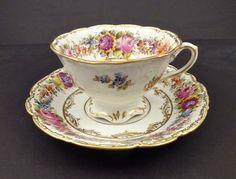 6 Antique Wehsener Floral Tea Cups & Saucers