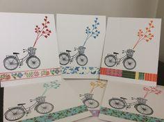 A bike card set using washi tape.