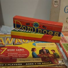 Game of the Week: Anagrams and Dominos (Circa 1965) Are these in your list of go to games? Do they bring fond memories? What game did you play as a kid? #retrogames #1960s # games #gameoftheweek