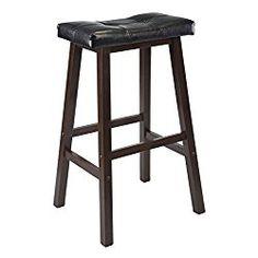 Elegant Winsome Wood 29 Inch Saddle Seat Stool Walnut