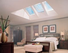 Vivacious Velux Skylights for Your Roof Window Ideas: Interesting Tri Fold Velux Skylights Roofing Decor As Sunlight Views And Grey Master Bedroom With Modern Furnishing Ideas Skylight Shade, Roof Skylight, Roof Window, Skylights, Skylight Bedroom, Bedroom Ceiling, Bedroom Lighting, Fenetre Double Vitrage, Piece A Vivre