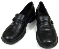 Clarks Shoes Womens Size 7.5 M Black Leather Loafers #Clarks #LoafersMoccasins