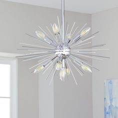 Shop for Safavieh Lighting Willa Silver Sunburst LED Adjustable Pendant - Get free delivery On EVERYTHING* Overstock - Your Online Ceiling Lighting Store! Get in rewards with Club O! Led Pendant Lights, Pendant Chandelier, Led Ceiling Lights, Pendant Lighting, Fan Lamp, Pendant Light Fixtures, Ceiling Fixtures, Modern Retro, Bulb