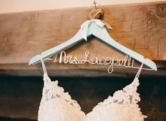 My personalized wedding hanger with my dress