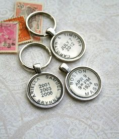 Custom Postmark Key Chain personalized with your special names/dates; by CrowBiz, $25.00-$35.00 in keychains, necklaces, or cufflinks
