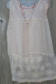 Romantic Living Sheer Embroidered Lace Romance Top...1X